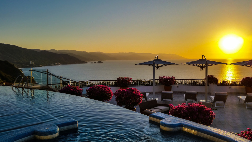 Sunset poolside at Grand Miramar in Puerto Vallarta