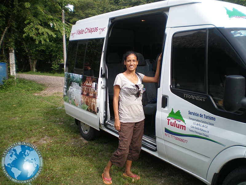 Cris with our van