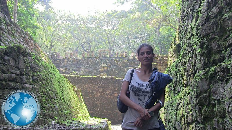 Cris at the Maya ruins of Yaxchilan
