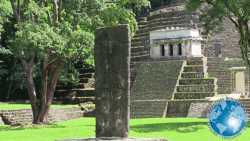 the main pyramid and standing stone at Bonampak