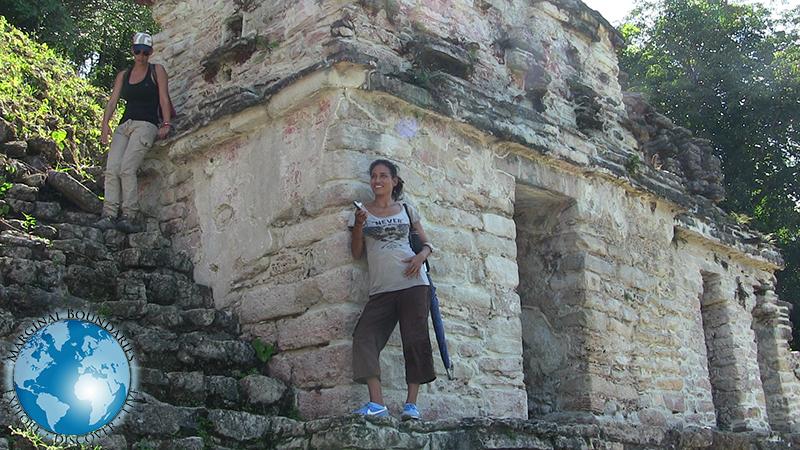 Cris at the top of Bonampak pyramid