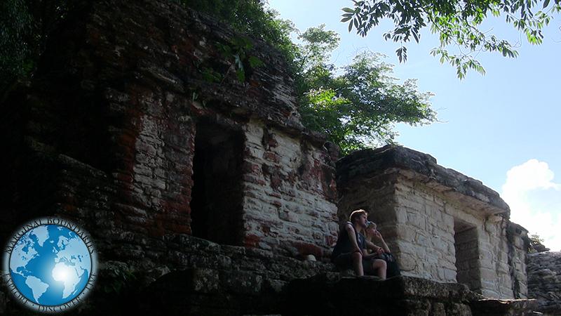 A couple at the top of the main pyramid at Bonampak