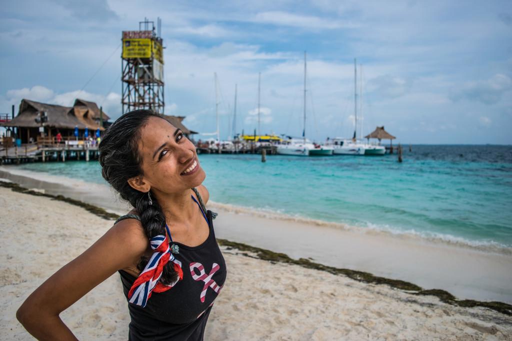 Cris at Playa Tortugas in Cancun