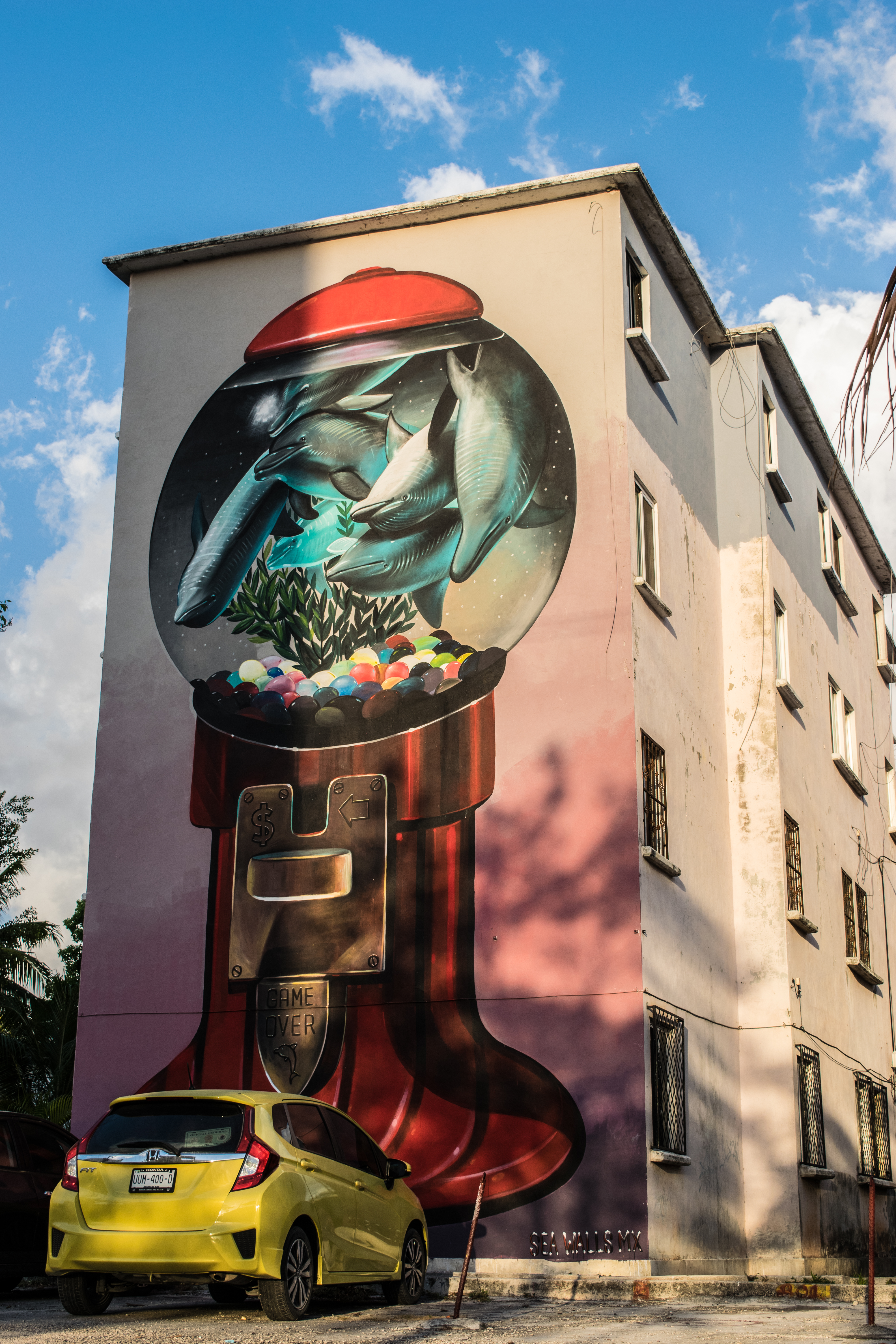 gumball machine mural in Cancun