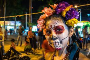 Catrina makeup at Parque las Palapas, Cancun