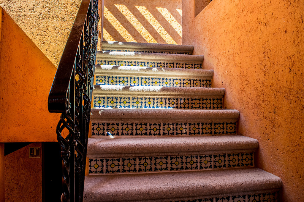 painted stairs at Hotel Lunata