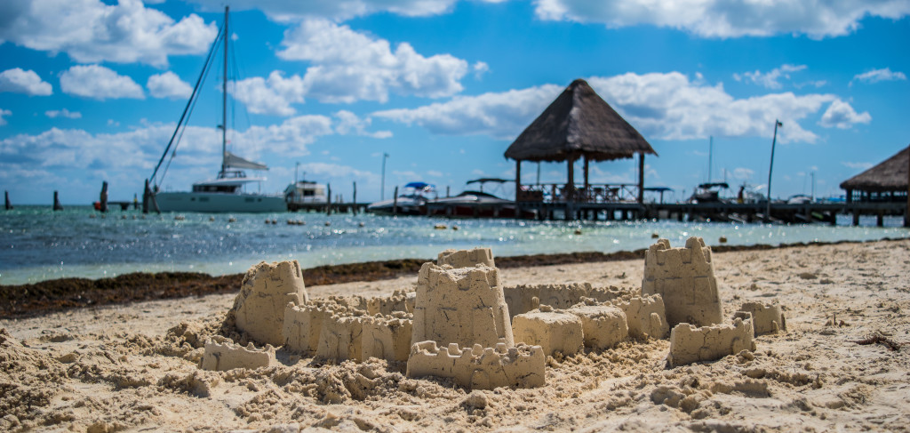 sand castle at playa las perlas, cancun