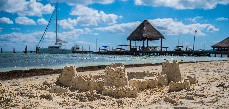 sand castle at playa las perlas, cancun