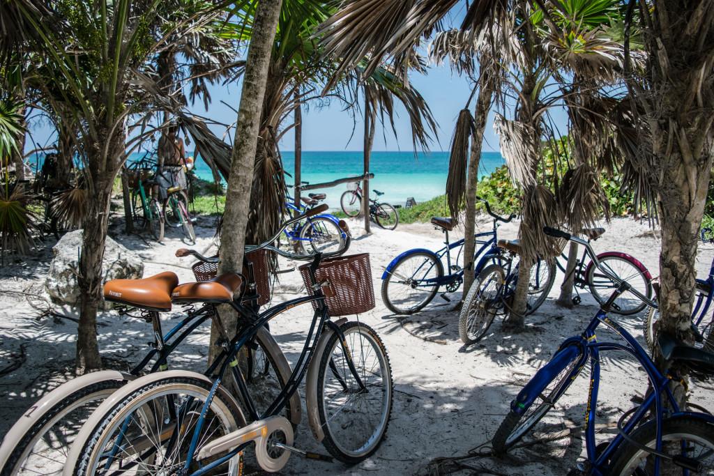Bikes on the beach, Tulum