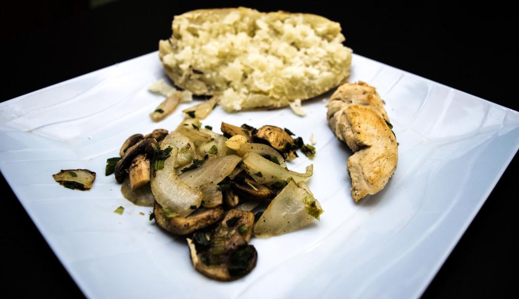 chicken, sweet potato, mushrooms and onion