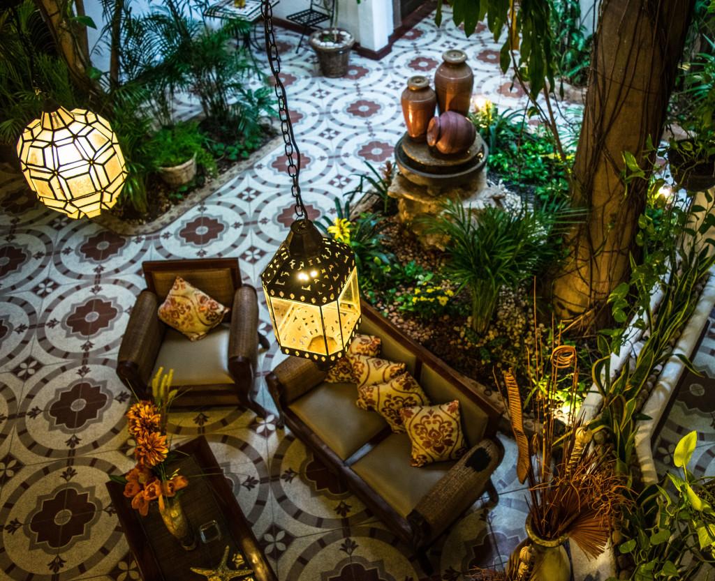 lanterns and couches at the Posada Mariposa Hotel