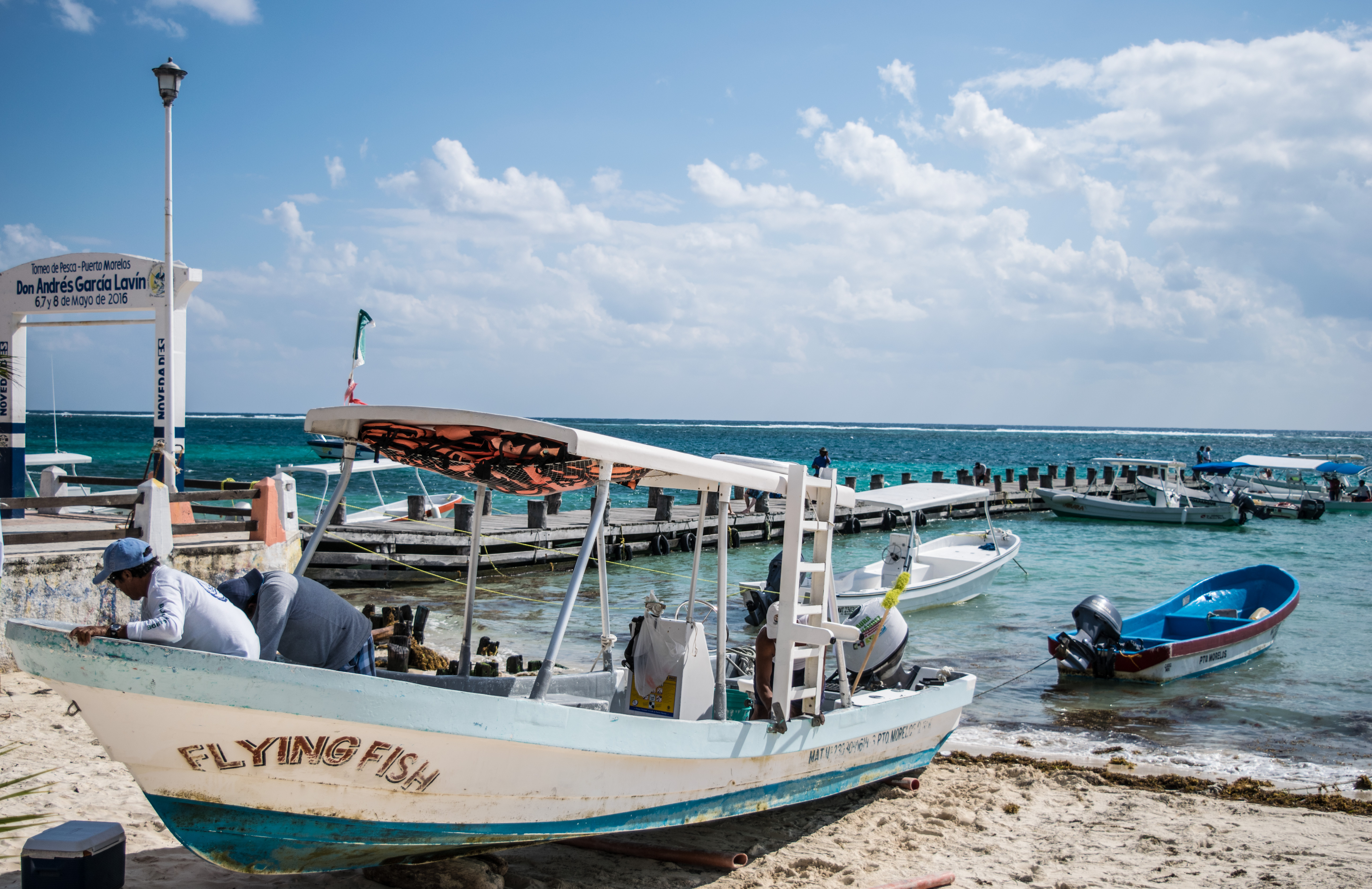 boat and docks in Puerto Morelos