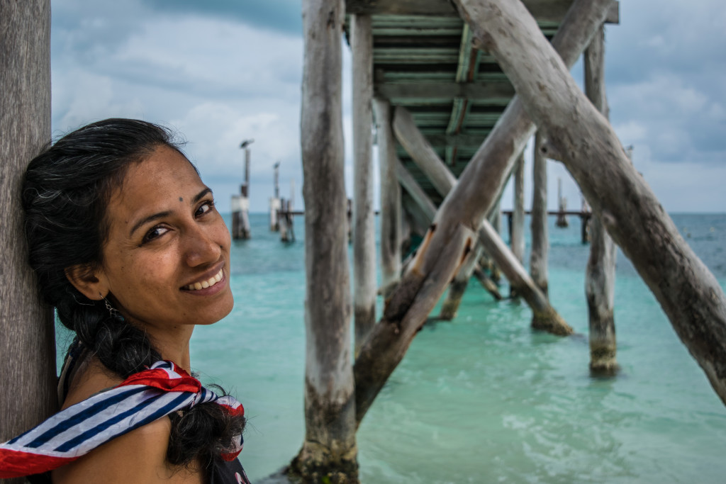 Cris at pier at Playa Tortugas, Cancun