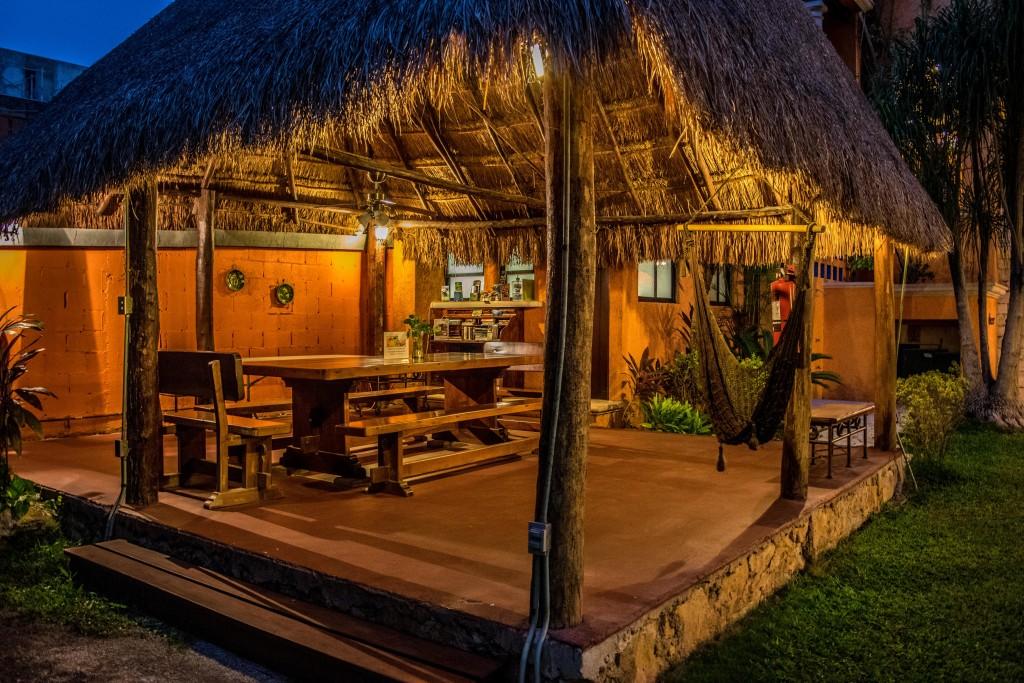 breakfast nook at Hotel Lunata in evening