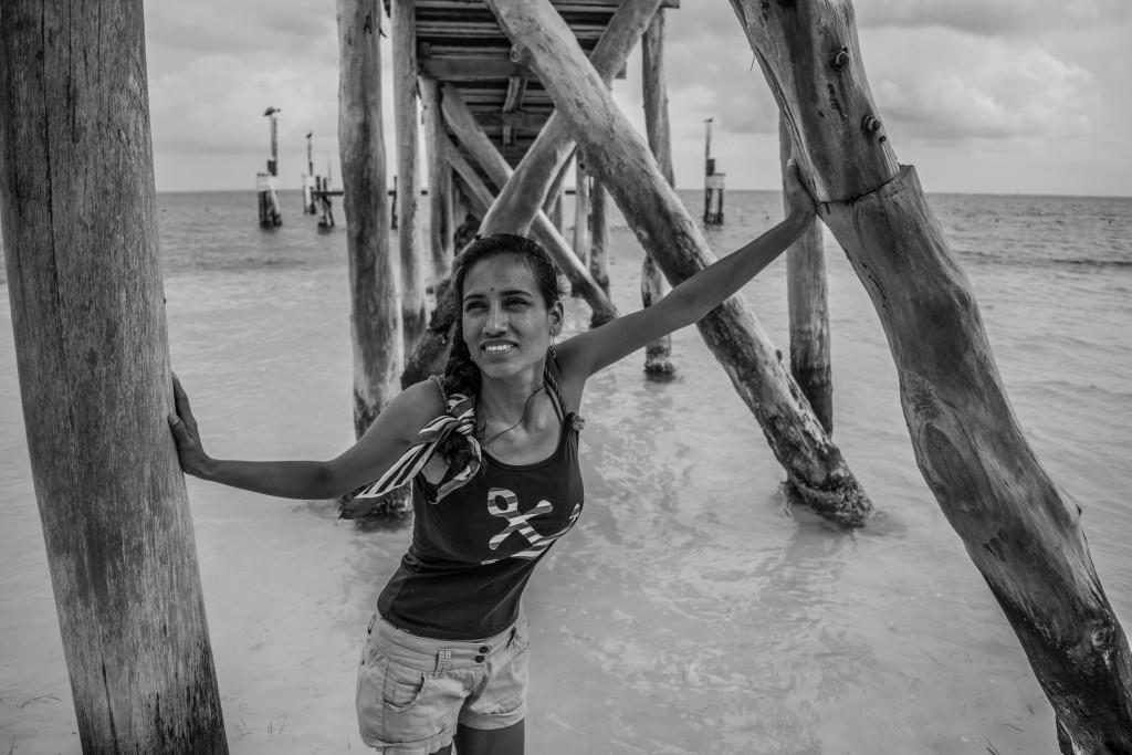 Cris at Playa Tortugas pier, Cancun