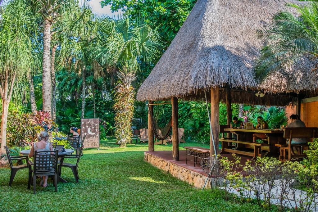 breakfast and garden at Hotel Lunata
