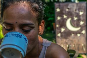 Cris drinking coffee at Hotel Lunata