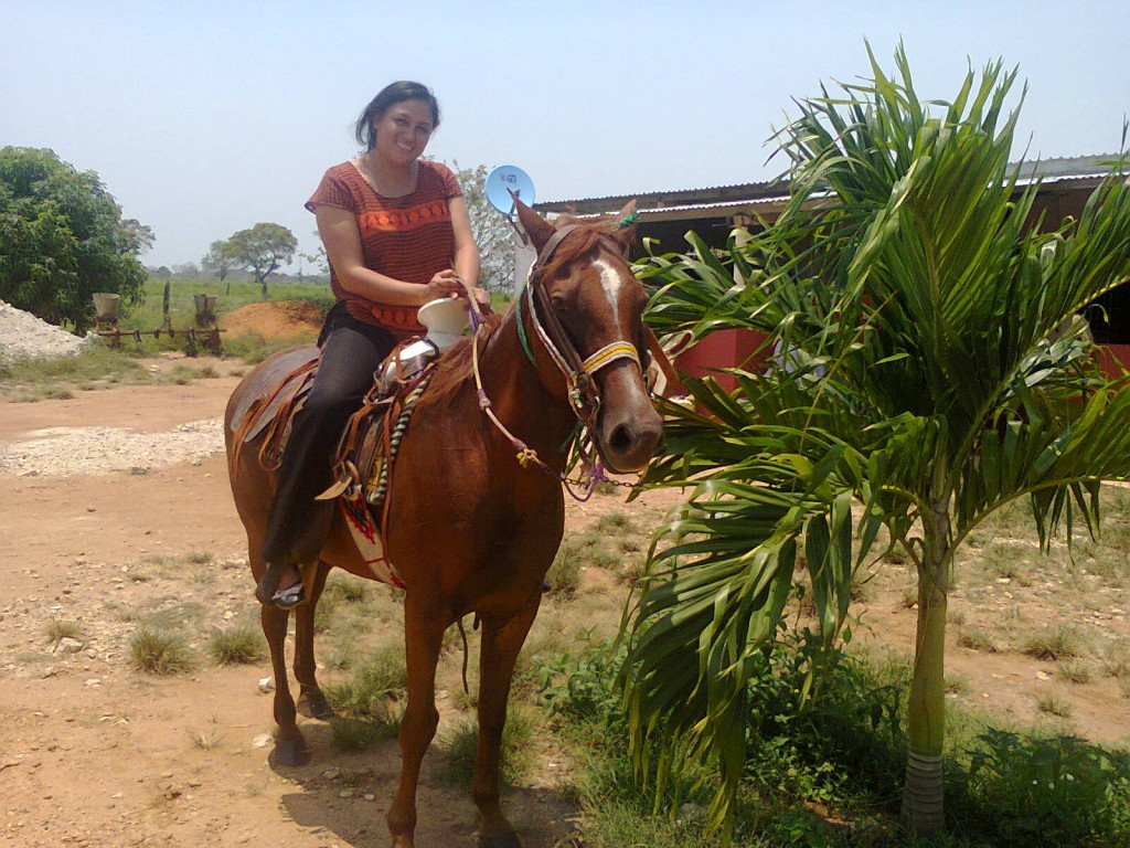 Cris' sister riding