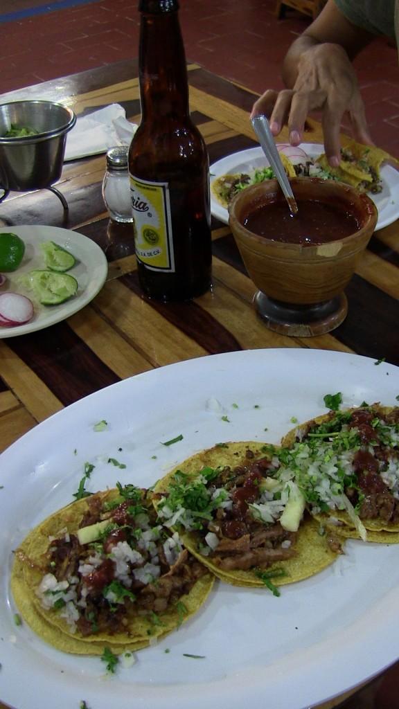 Tacos de Pastor with beer