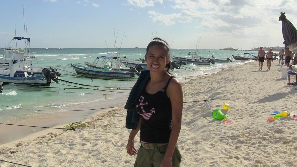 Cris on the beach