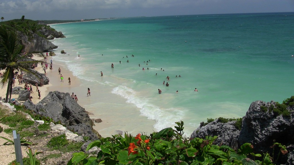 The beach at the ruins of Tulum