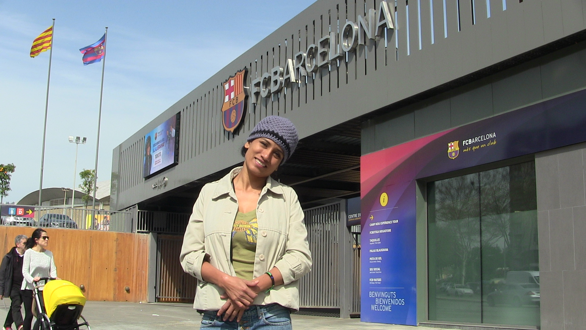Cris at the Barcelona Football Club Stadium