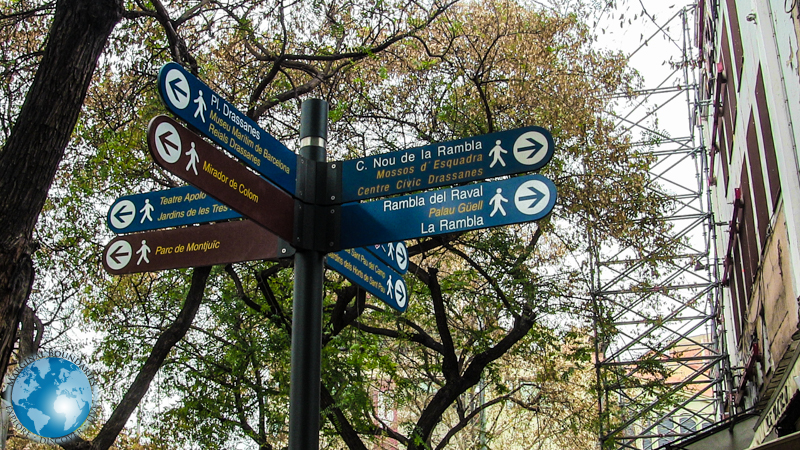 Signposts on La Rambla in Barcelona