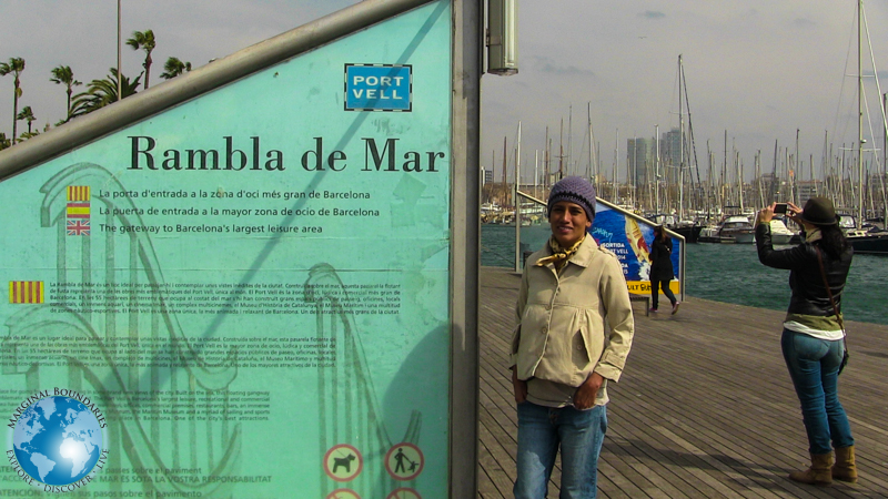 Cris at the Rambla de Mar in Barcelona