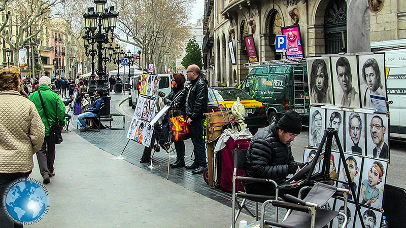 Artists on the Rambla in Barcelona