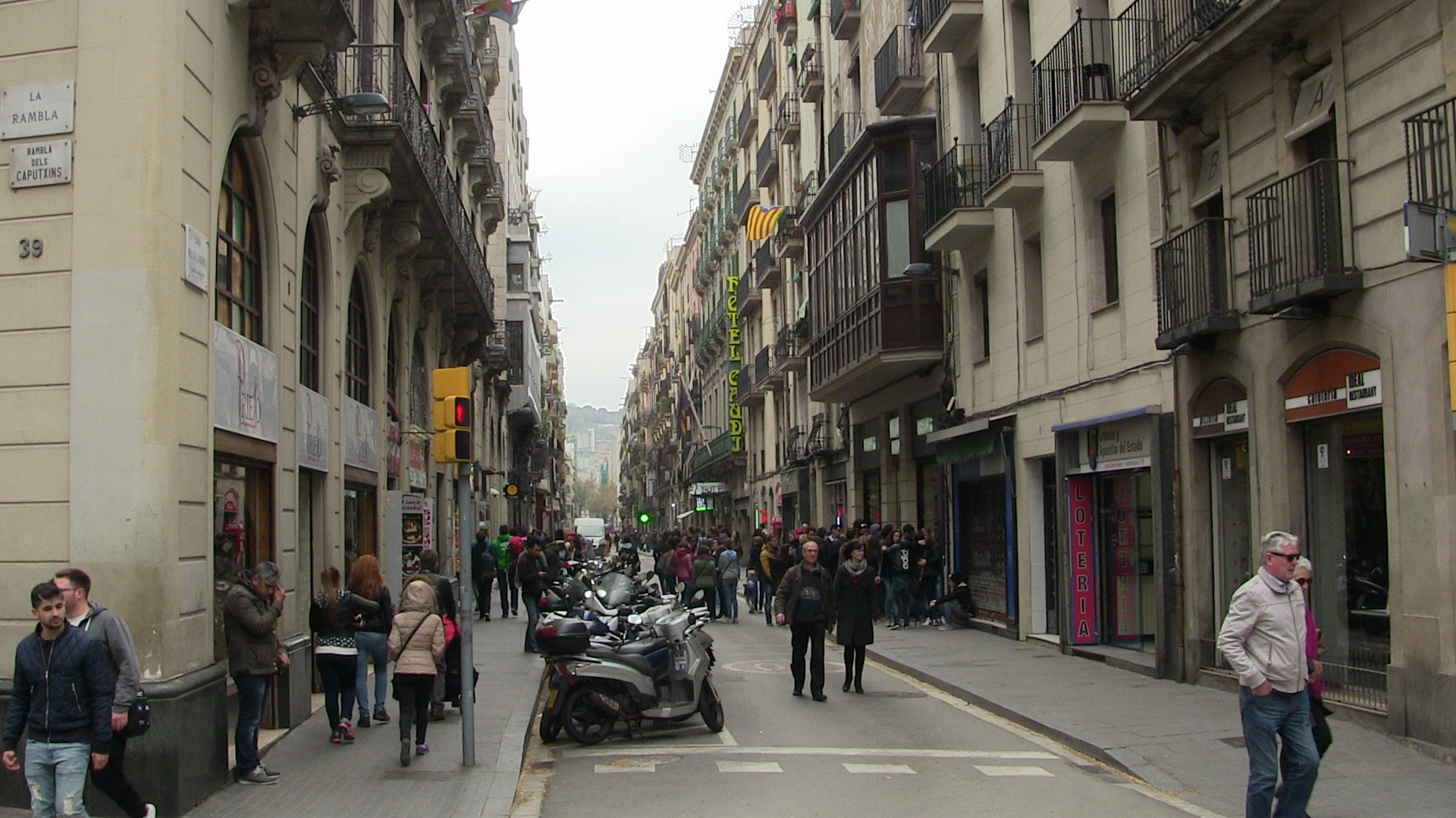 Crowded Street in Barcelona, Spain