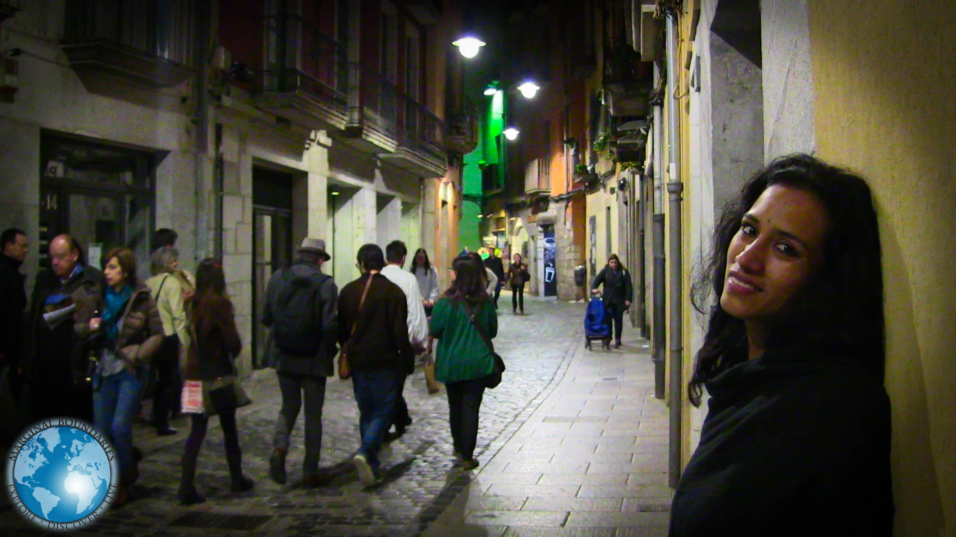 Cris on the streets of Girona at night