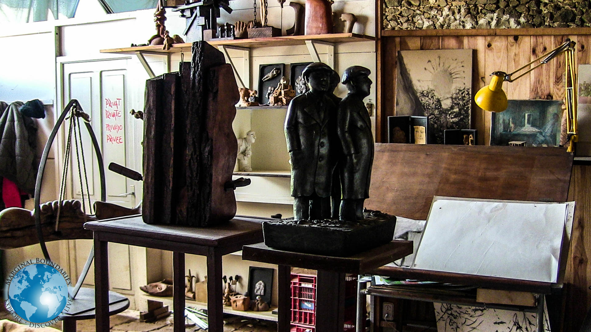 The interior of Carlos Maronna's workshop outside of Girona