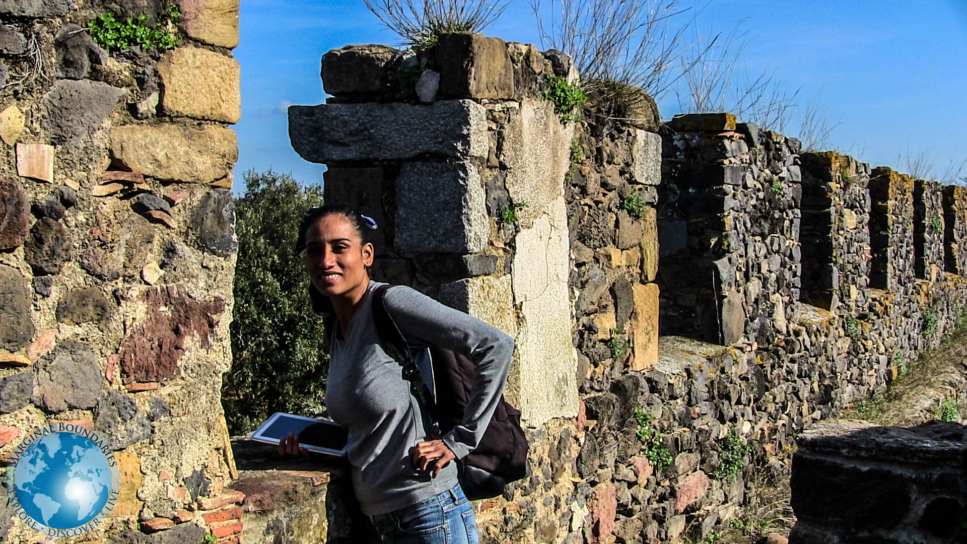 Cris on the ramparts of the castle