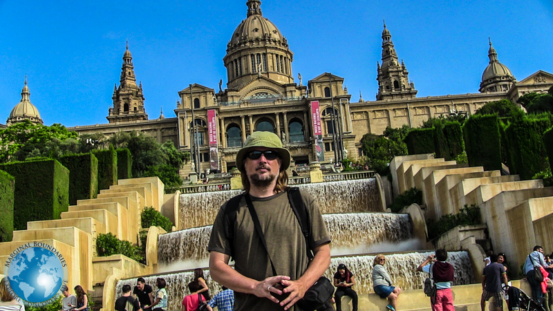 Tim in front of the National Art Museum of Catalonia
