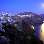 Moon over Santorini, Greece