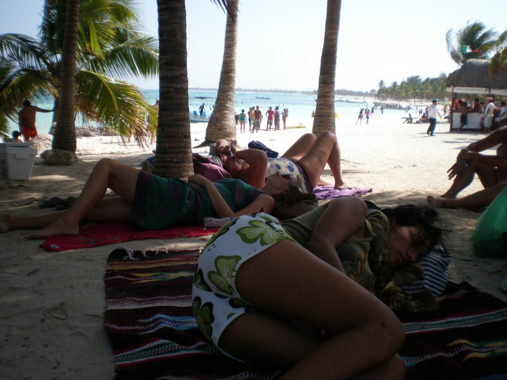 Cris sleeping on the Akumal beach