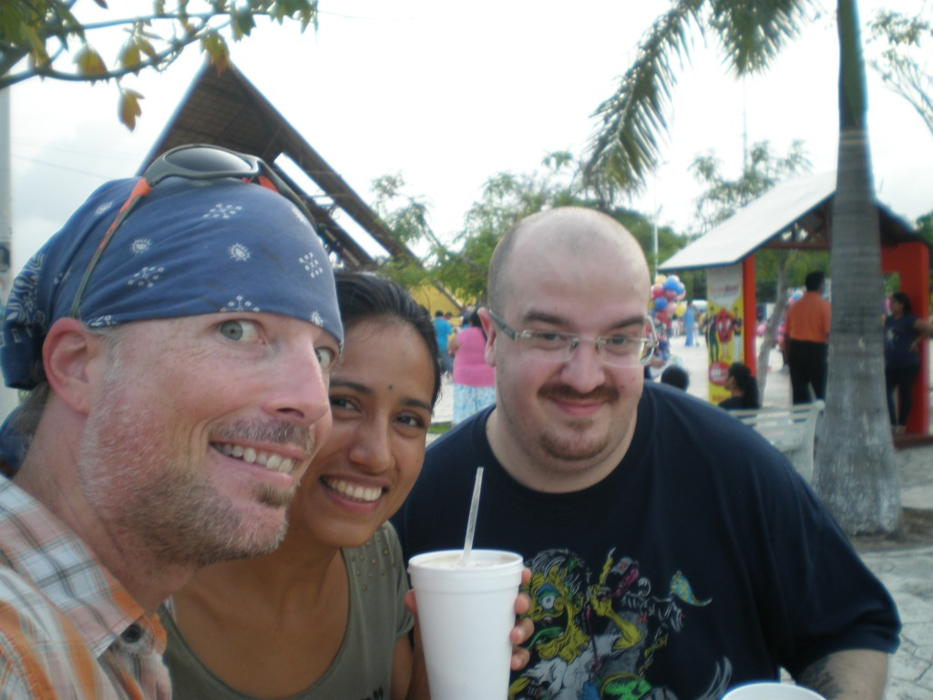 Devlin, Cris and Tim at the Parque Las Palapas in Cancun