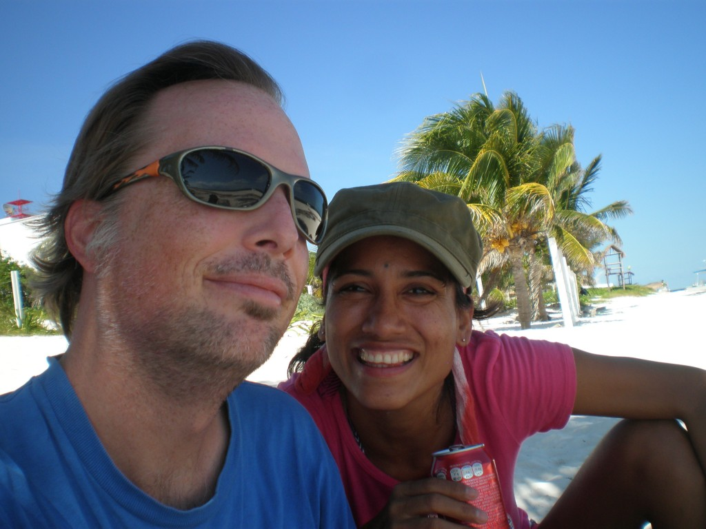 Cris and Tim on the beach in Puerto Morelos