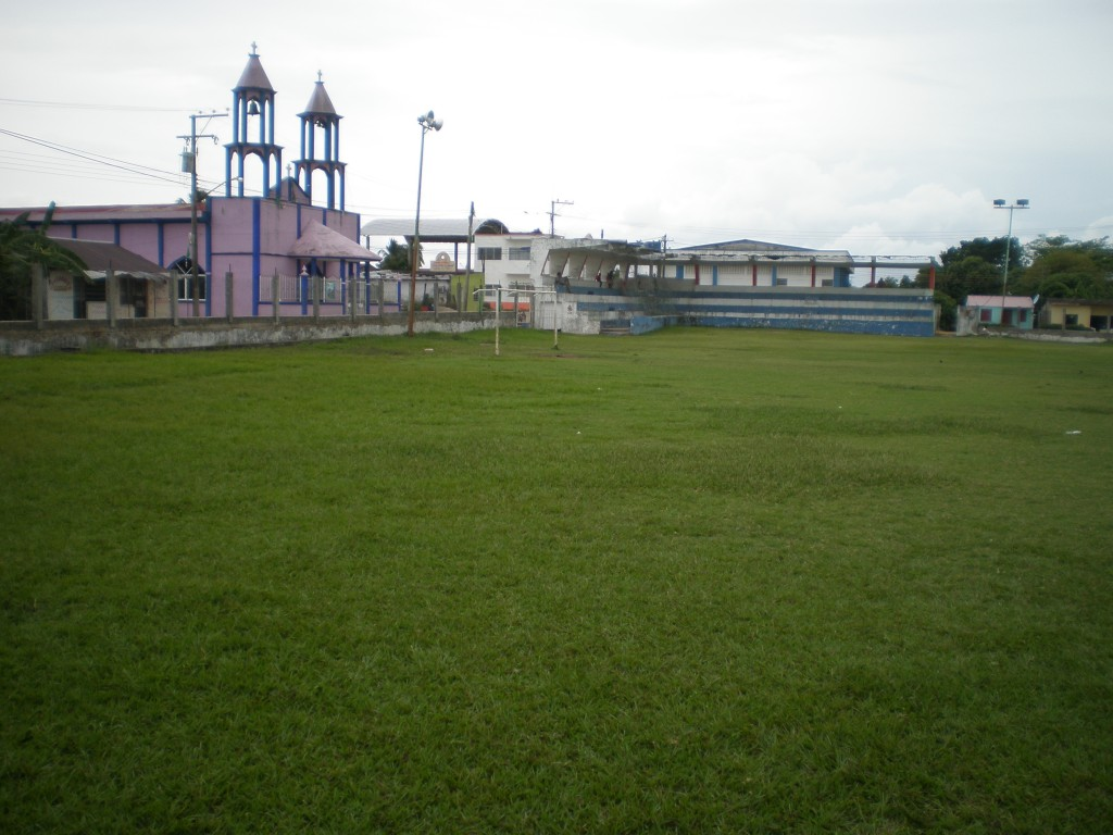 the soccer field in the center of town
